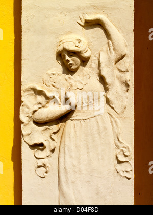 Detail of frieze of young woman dancing on a wall in Tibidabo Barcelona Catalonia Spain - Stock Photo