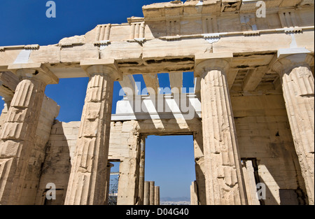 Propylaea building at the Acropolis of Athens in Greece - Stock Photo