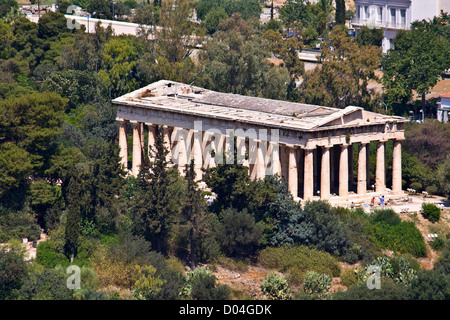 Temple of Hephaestus at ancient agora of Athens, Greece - Stock Photo