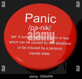 Panic Definition Button Shows Trauma Stress And Hysteria - Stock Photo