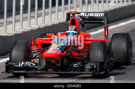 German driver Timo Glock heads out of the pits at practice for the F1 United States Grand Prix at Circuit of the - Stock Photo