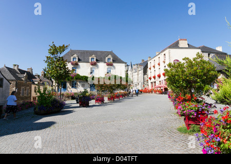 High above the River Arz, Rochefort-en-Terre has been voted one of France's most beautiful village. - Stock Photo