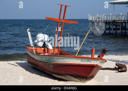 Fishing boat on Town Beach, Hua Hin, Thailand - Stock Photo