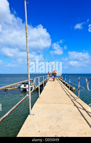 A Mozambican woman walks along the pier carrying her goods on her head after disembarking from a local dhow - Stock Photo