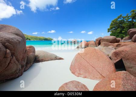 Idyllic beach in Seychelles - Stock Photo