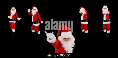 High resolution Santa Claus posing against white with Clipping Path for easier isolation - Stock Photo