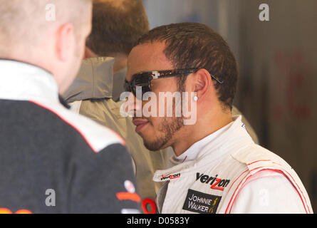 British driver Lewis Hamilton of McLaren Mercedes in the pit area after practice  for the F1 One United States Grand - Stock Photo