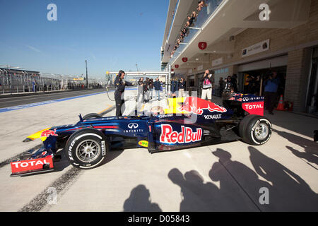 German driver Sebastian Vettel heads out for practice for Formula One United States Grand Prix at Circuit of the - Stock Photo