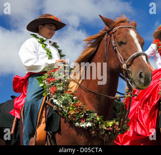 38a692aa ... Boy prepares for the 35th annual Waimea Paniolo Parade on the Big  Island - Stock Photo