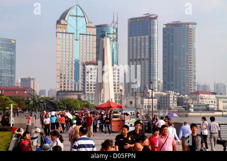 China, Shanghai, Asia, Chinese, Oriental, Huangpu District, The Bund, Zhongshan Road, National Day Golden Week, - Stock Photo