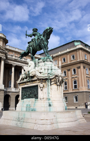 An equestrian statue of Prince Eugene of Savoy from 1897 at Buda Castle in Budapest, Hungary. - Stock Photo