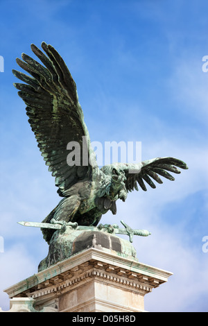 Mythical Turul Bird bronze statue from 1905, located next to the Buda Castle in Budapest, Hungary. - Stock Photo