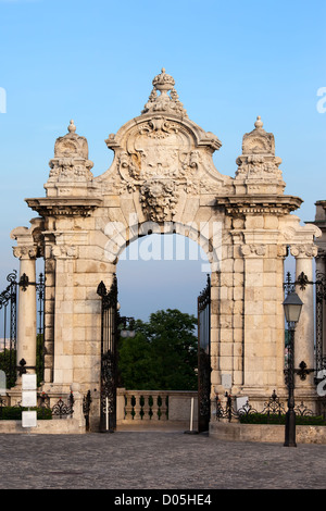 Gate to the Royal Palace (Buda Castle) in Budapest, Hungary. - Stock Photo