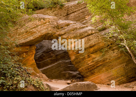 Natural sandstone arch in Hidden Canyon, a narrow canyon off Zion Canyon in Navajo sandstone; Zion National Park, - Stock Photo