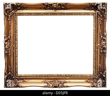 Antique look gold color picture frame isolated on white. - Stock Photo