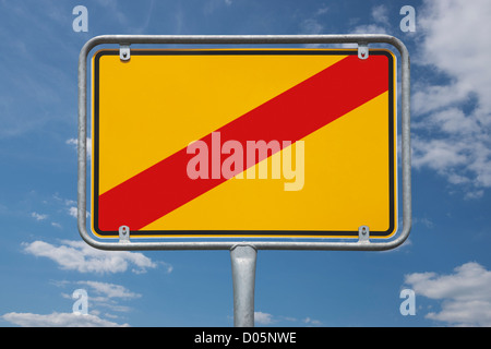 Town sign Germany, End of the town without inscription - Stock Photo
