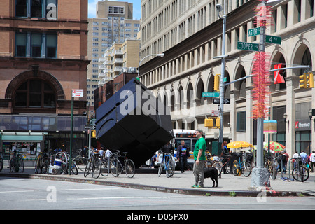 Astor Place Cube, The Alamo, Astor Place, Greenwich Village, Manhattan, New York City, USA - Stock Photo