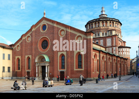 Santa Maria delle Grazie Church,  the refectory houses the mural of The Last Supper by Leonardo da Vinci, Milan, - Stock Photo