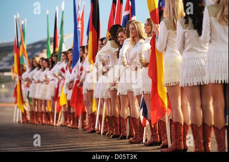 17 11 2012 Austin Texas, USA.  Grid Girls  for the Sunday Starting Grid Ceremony practise on Saturday Evening - Stock Photo