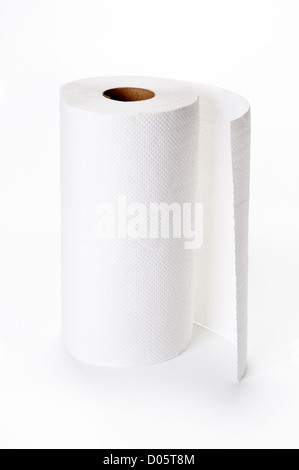 kitchen roll or kitchen paper on white - Stock Photo