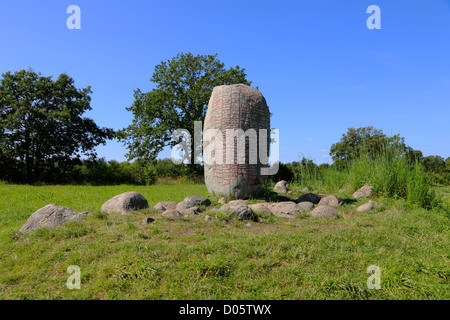 Karlevi runic stone on Swedish island Öland in the Baltic Sea with an ancient verse about a Danish Viking chief. - Stock Photo