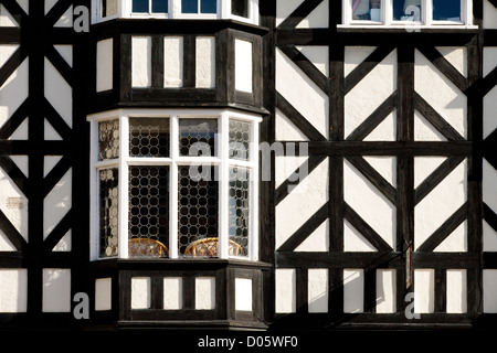 A half timbered tudor medieval house in Ludlow, Shropshire UK - Stock Photo