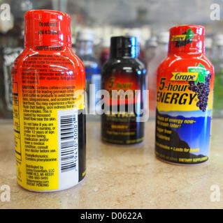 Jan. 1, 2012 - Orange County, California, USA - The label on the back of a 5-Hour Energy drink 1.93 ounce bottle - Stock Photo