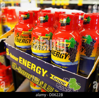 Jan. 1, 2012 - Orange County, California, USA - 5-Hour Energy drinks come in several flavors including orange, cherry - Stock Photo