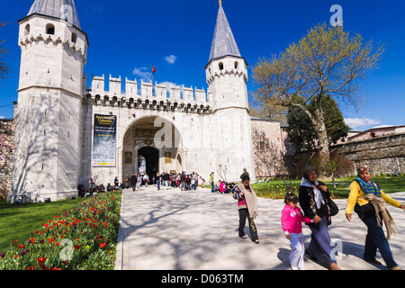 People at the entrance of Topkapi Palace. Istanbul, Turkey - Stock Photo