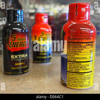 Jan. 1, 2012 - Orange County, California, USA - The supplemental label on the back of a 1.93 ounce 5-Hour Energy - Stock Photo