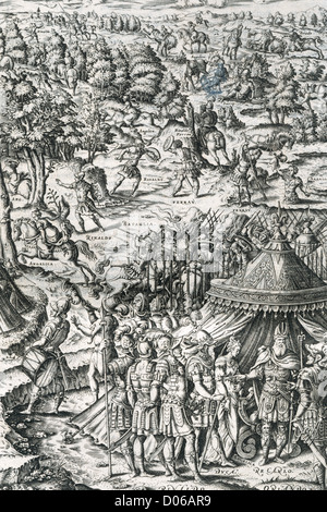 Ludovico Ariosto (1474-1533). Italian poet. The Frenzy of Orlando. First Chant. Engraving. - Stock Photo