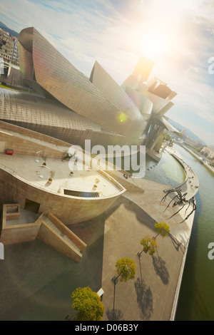 View from La Salve bridge of the Guggenheim museum and the river Nervion, Bilbao, Biscay, Basque Country, Spain - Stock Photo