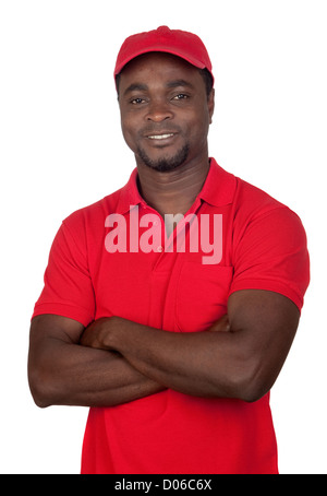 Worker courier with red uniform isolated on a over white background - Stock Photo