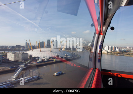 The southbound view from a gondola on a journey over the River Thames on the Emirates Cable Car, from Royal Docks - Stock Photo