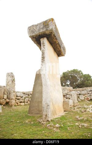 Trepuco prehistoric talaiot monument at Menorca Island in Spain - Stock Photo