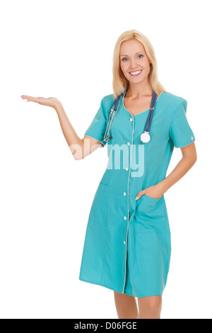 female doctor holding something on her hand, white background - Stock Photo
