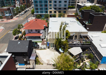 San Diego - looking down on the corner of Island and 9th Street, unusual low-rise buildings - Stock Photo