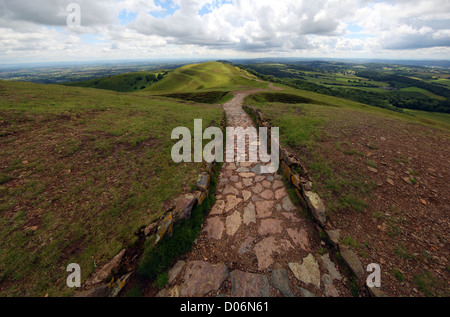 path leading down from Herefordshire Beacon on the Malvern Hills Worcestershire UK - Stock Photo