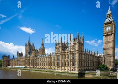 Palace of Westminster, or Houses of Parliament, in London, United Kingdom - Stock Photo