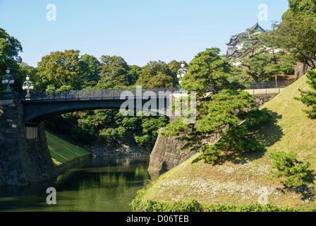 Japan, Tokyo View of Nijubashi bridge at Imperial Palace - Stock Photo