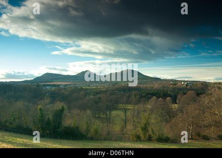 The Eildon Hills near St Boswells, Scottish Borders - Stock Photo