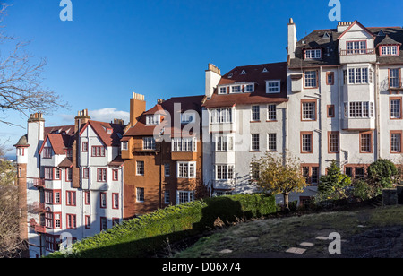 Buildings with flats named Ramsay Garden in Edinburgh off Ramsay Lane as seen here from west just off Edinburgh - Stock Photo