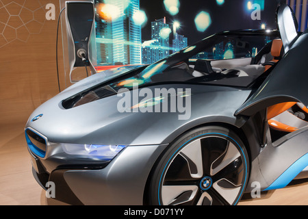 BMW displays its electric concept cars at a Born Electric Tour promotion in New York - Stock Photo