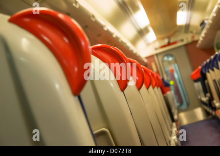 Seats on standard class carriage of a Virgin Class 221 'Super Voyager'  train running on the West Coast mainline, - Stock Photo