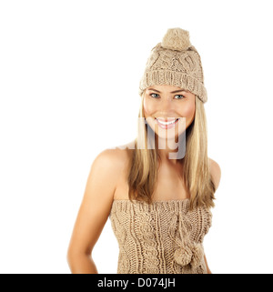 Photo of pretty woman wearing beige winter hat isolated on white background, attractive female in knitted brown - Stock Photo