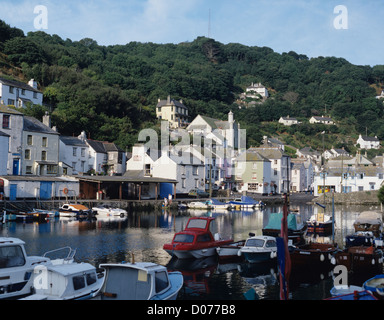 Boats moored in Polperro fishing village situated on the River Pol, Cornwall, England, United Kingdom - Stock Photo