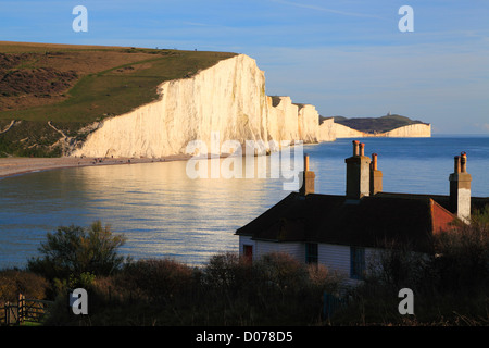Seven Sisters cliffs and coastline at sunset from Seaford Head, East Sussex, England, UK, GB - Stock Photo