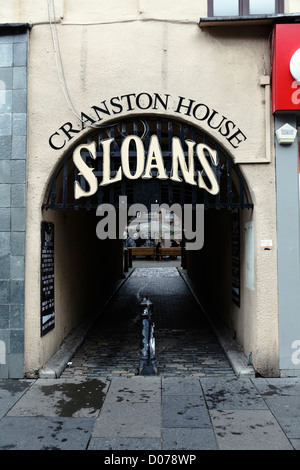 Entrance from Argyle Street to Sloans Bar and Restaurant in Glasgow city centre, Scotland, UK - Stock Photo