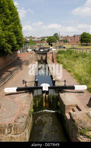 narrow gouge flight of locks Stourport on Severn Worcestershire England UK - Stock Photo