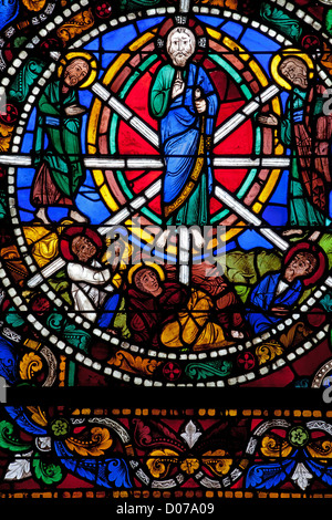 THE PASSION OF CHRIST DETAIL OF THE STAINED GLASS IN THE ROYAL DOOR CHARTRES CATHEDRAL EURE-ET-LOIR (28) FRANCE - Stock Photo
